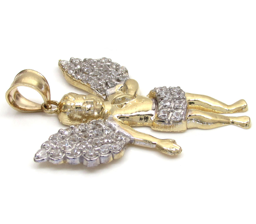10k yellow gold medium cz baby cherub angel pendant 1.75ct