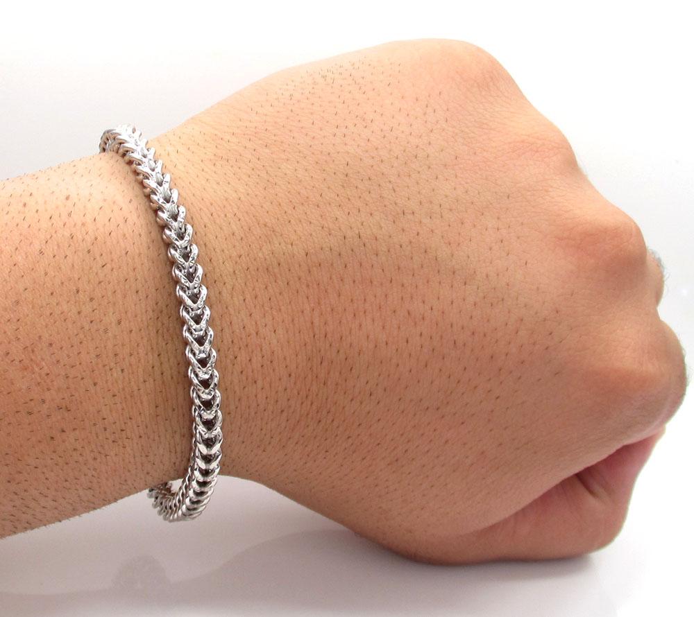10k white gold diamond cut franco bracelet 9 inch 5.3mm