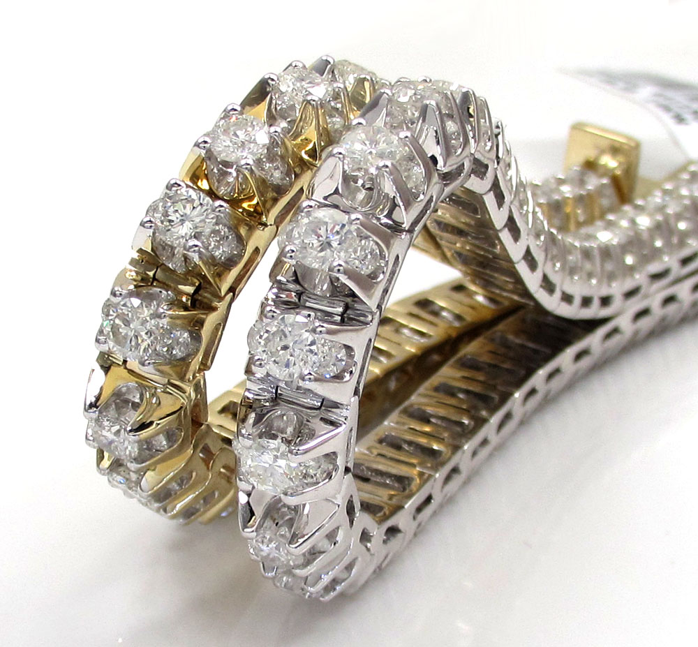 14k gold triple set diamond tennis bracelet 8 inch 11.97ct