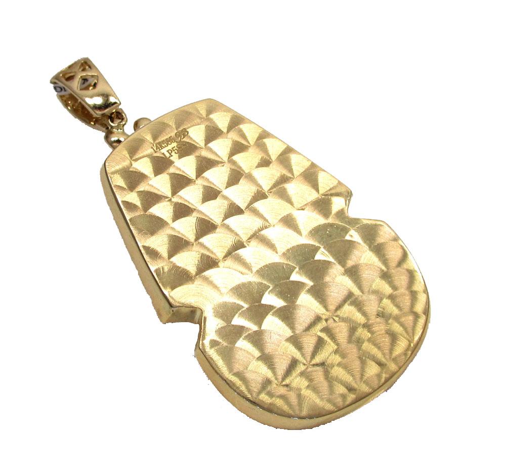 14k yellow gold blue enamel king tut pharaoh pendant 0.82ct