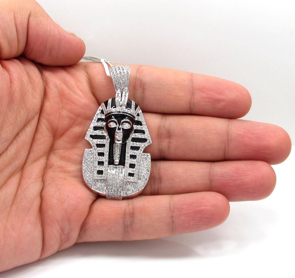 10k white gold black enamel king tut pharaoh pendant 2.54ct