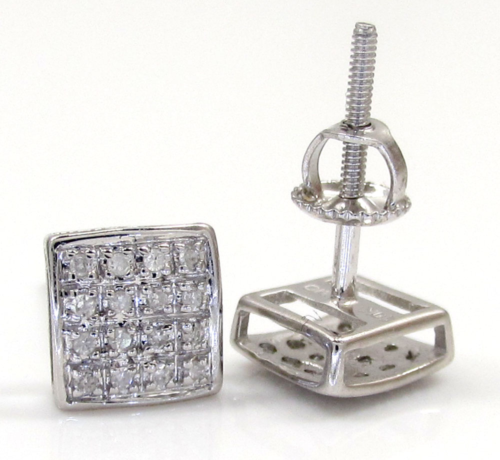 10k gold 4 row diamond earrings 0.10ct