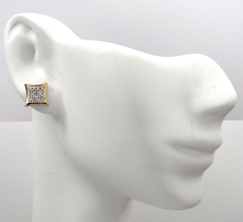 10k gold 4 row diamond kite earrings 0.12ct
