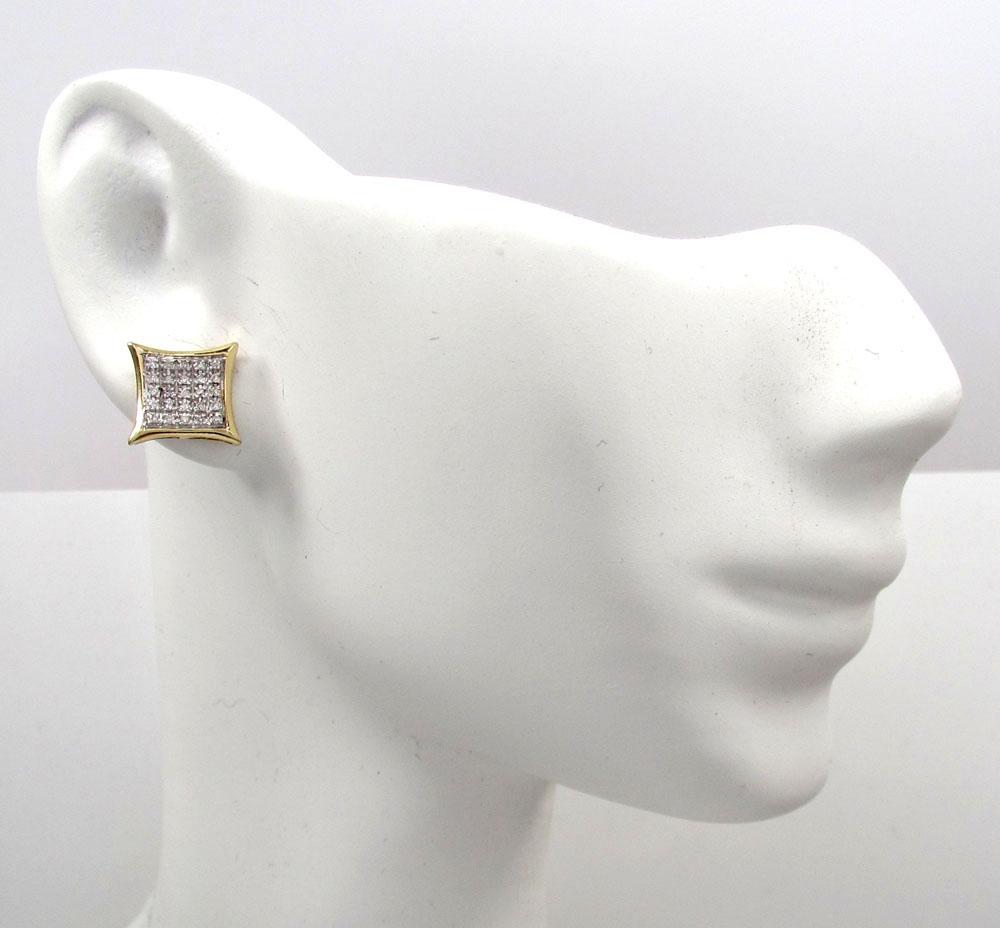 10k gold 5 row diamond kite earrings 0.18ct