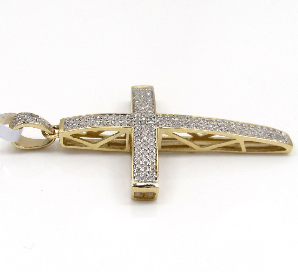 10k yellow gold curved diamond pave cross 0.59 ct