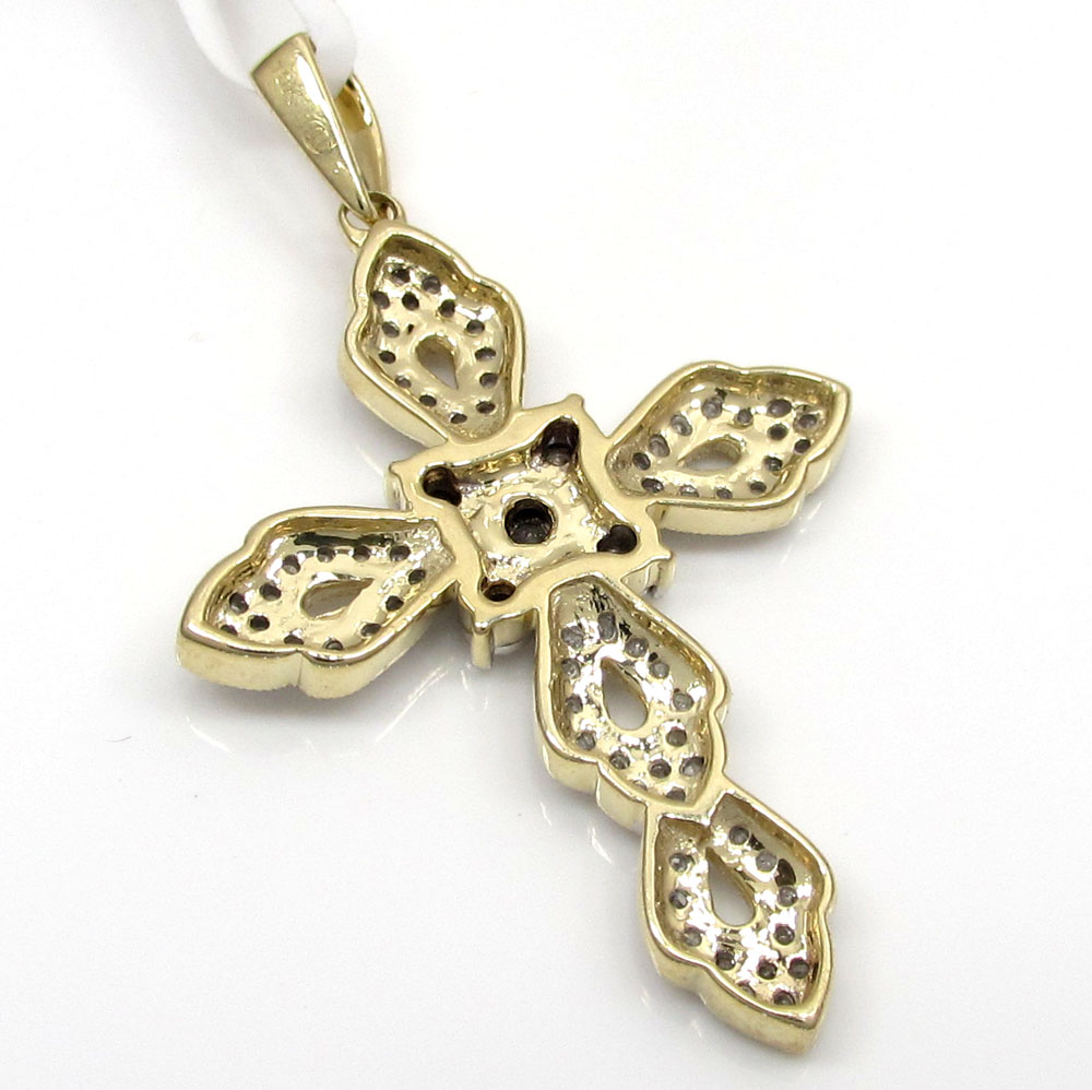 10k solid gold ribbon diamond cross 0.45ct