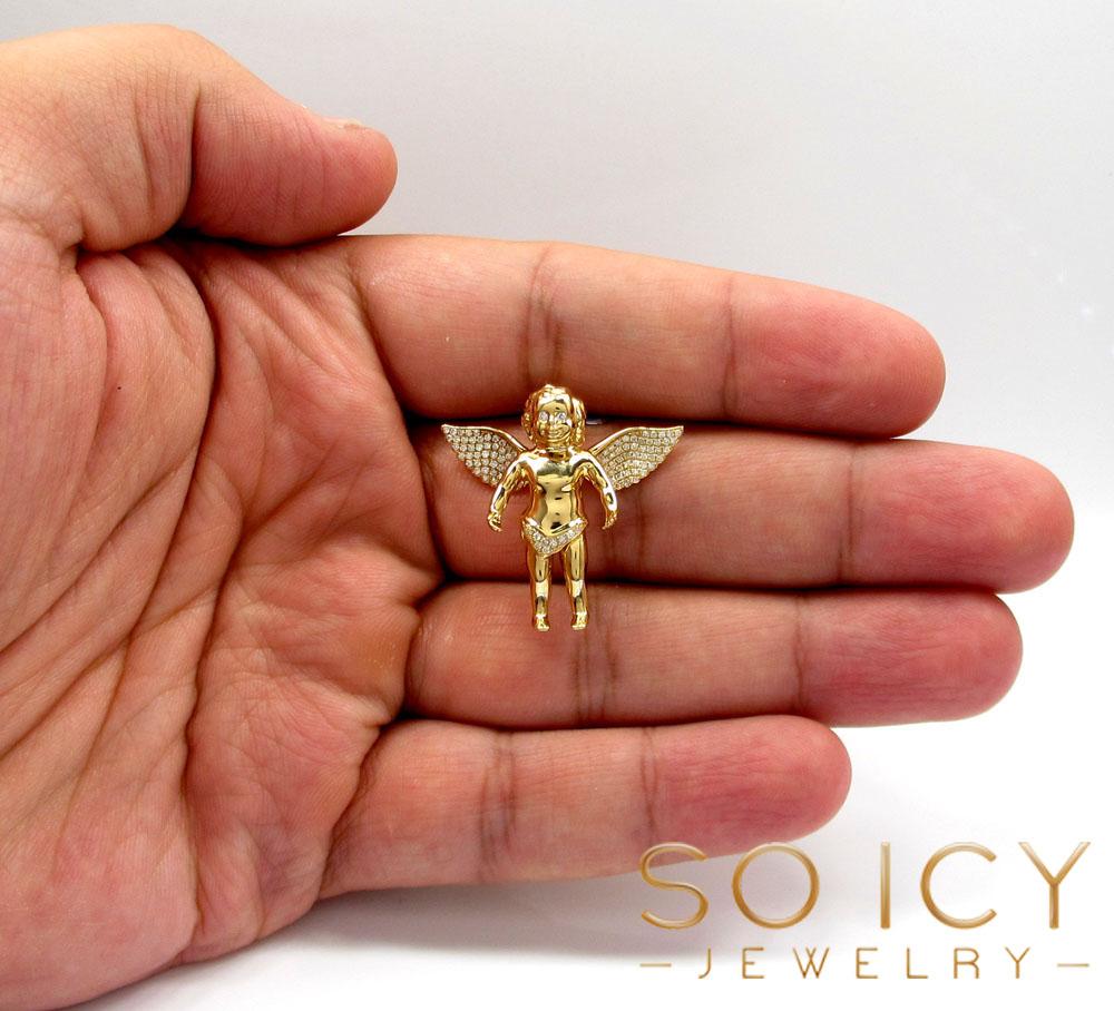 14k solid gold baby cherub angel vs pendant 0.40ct
