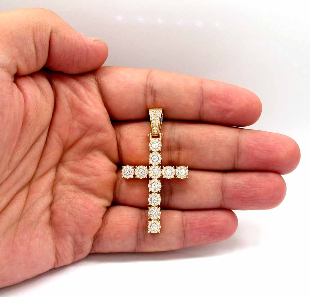 14k yellow gold cluster diamond cross 2.20ct