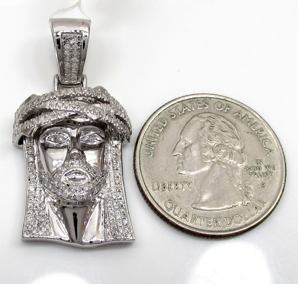 10k white or yellow gold jesus piece 3d face pendant 1.10ct