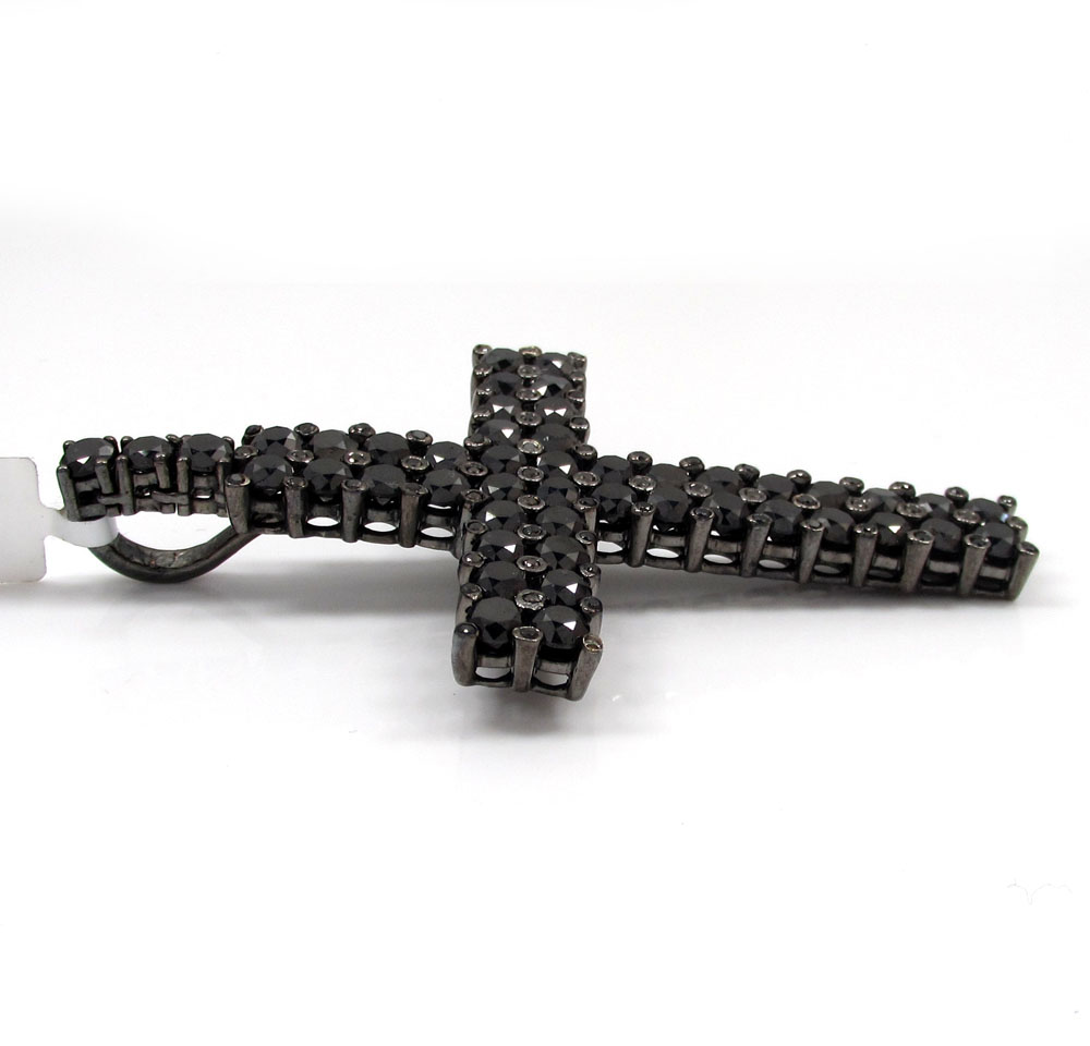 10k black gold blacked out diamond cross 15.00ct