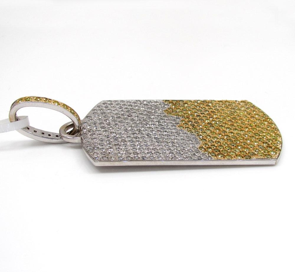 14k white gold white and yellow diamond dog tag pendant 10.50ct