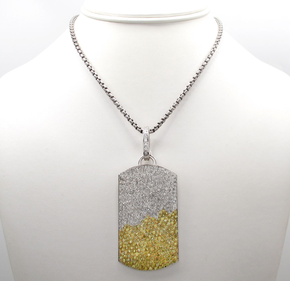 14k white gold white and yellow diamond dog tag pendant 1050ct mozeypictures Images