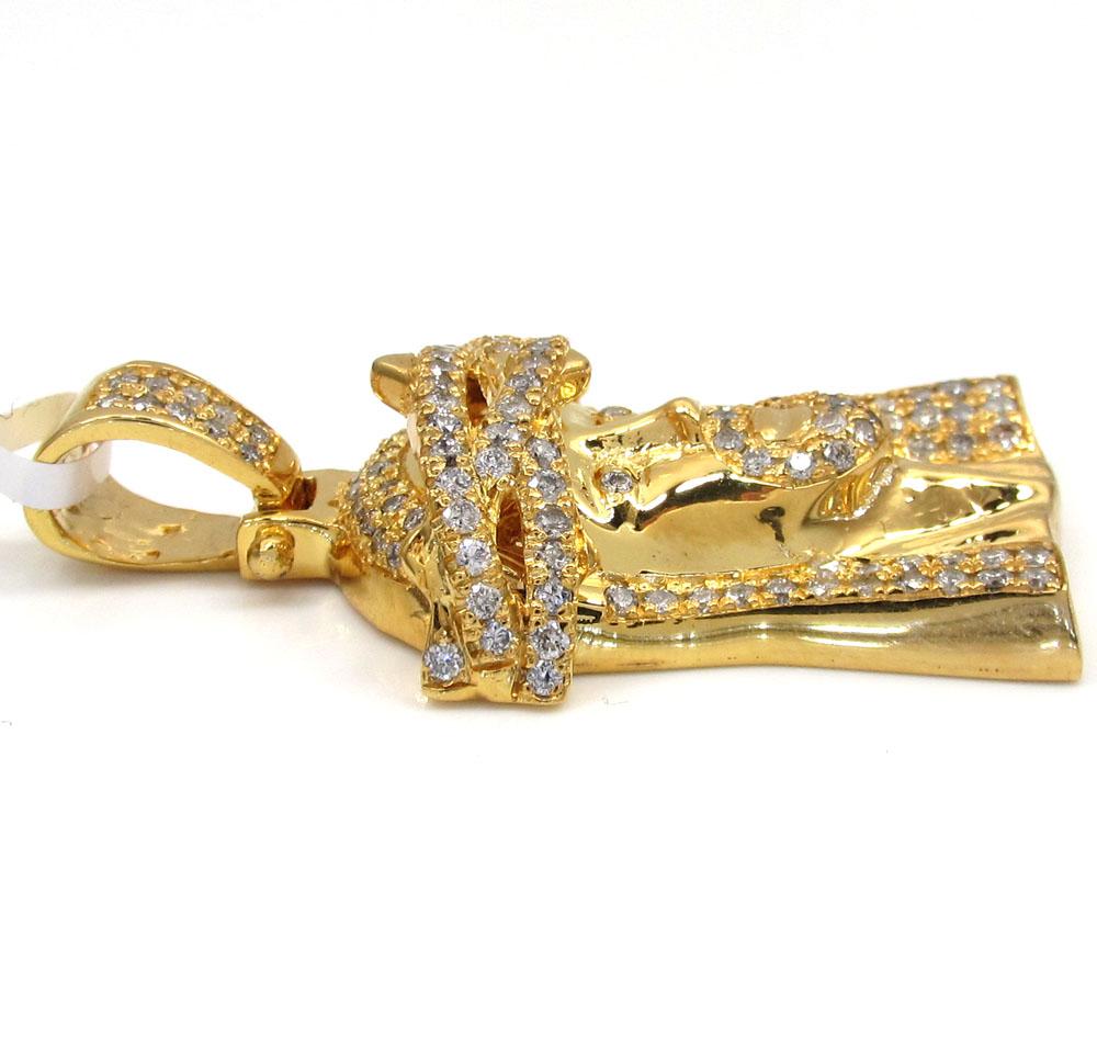 14k yellow gold jesus piece diamond pendant 2.50ct
