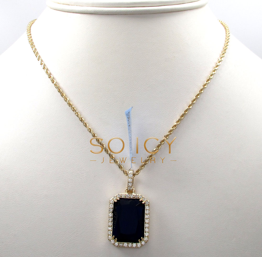 14k yellow gold blue sapphire diamond octagon pendant 0.76ct