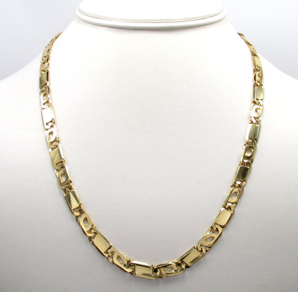 10k yellow gold solid tiger eye chain 24-30 inch 6.5mm