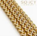 10k yellow gold skinny hollow diamond cut franco chain 20-30