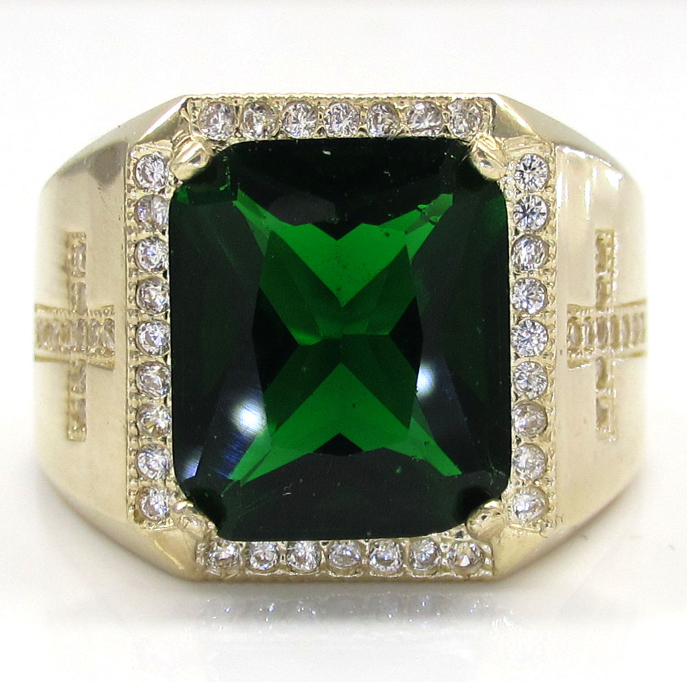 10k yellow gold green emerald gemstone ring 5.00ct