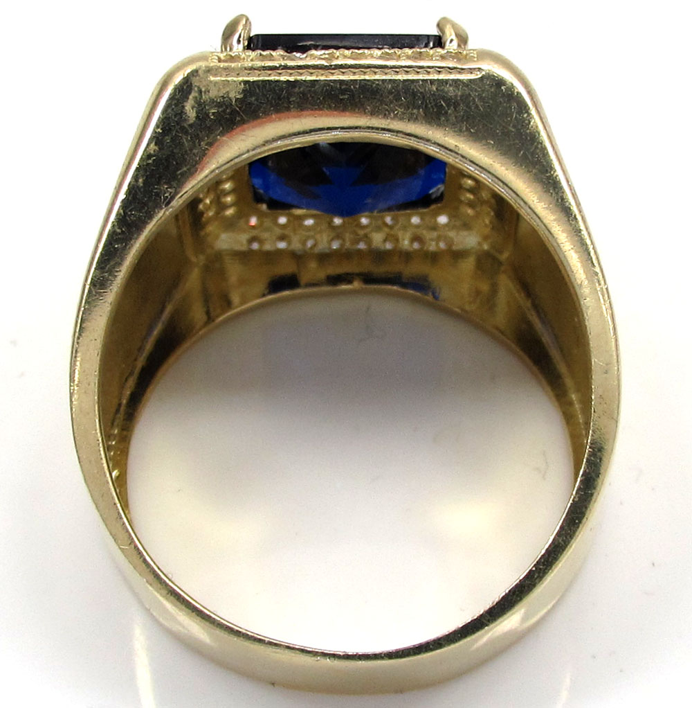 10k yellow gold blue sapphire gemstone ring 5.00ct