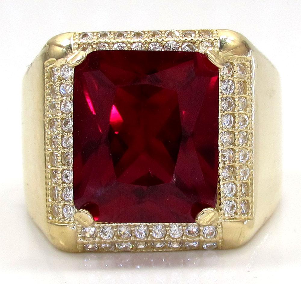 10k yellow gold ruby red gemstone ring 5.00ct