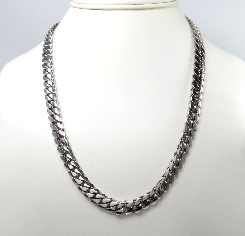 10k white gold solid large miami chain 16-26 inch 8.8mm