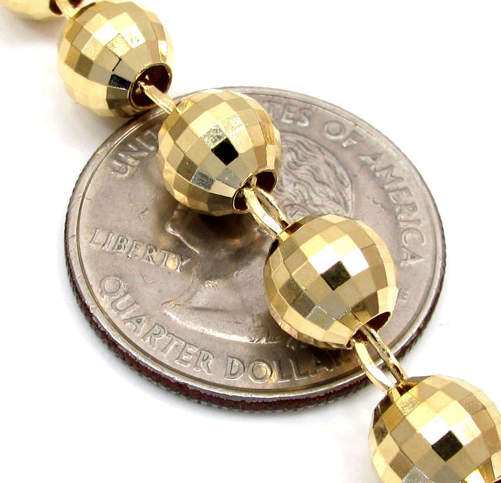 10k yellow gold disco ball bead large rosary chain 30 inch 8mm