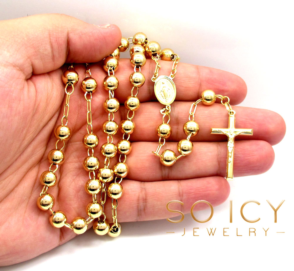 10k yellow gold smooth bead large rosary chain 30 inch 8mm