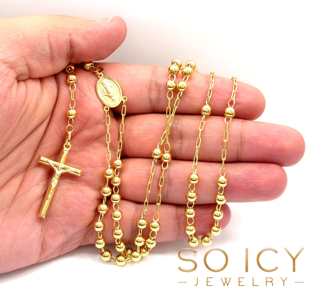 10k yellow gold smooth bead rosary chain 26 inch 5mm