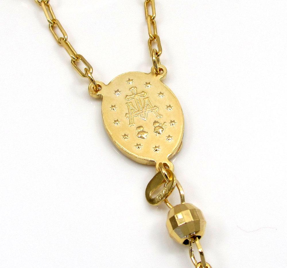 10k yellow gold hexagon ball bead rosary chain 26 inch 4.6mm