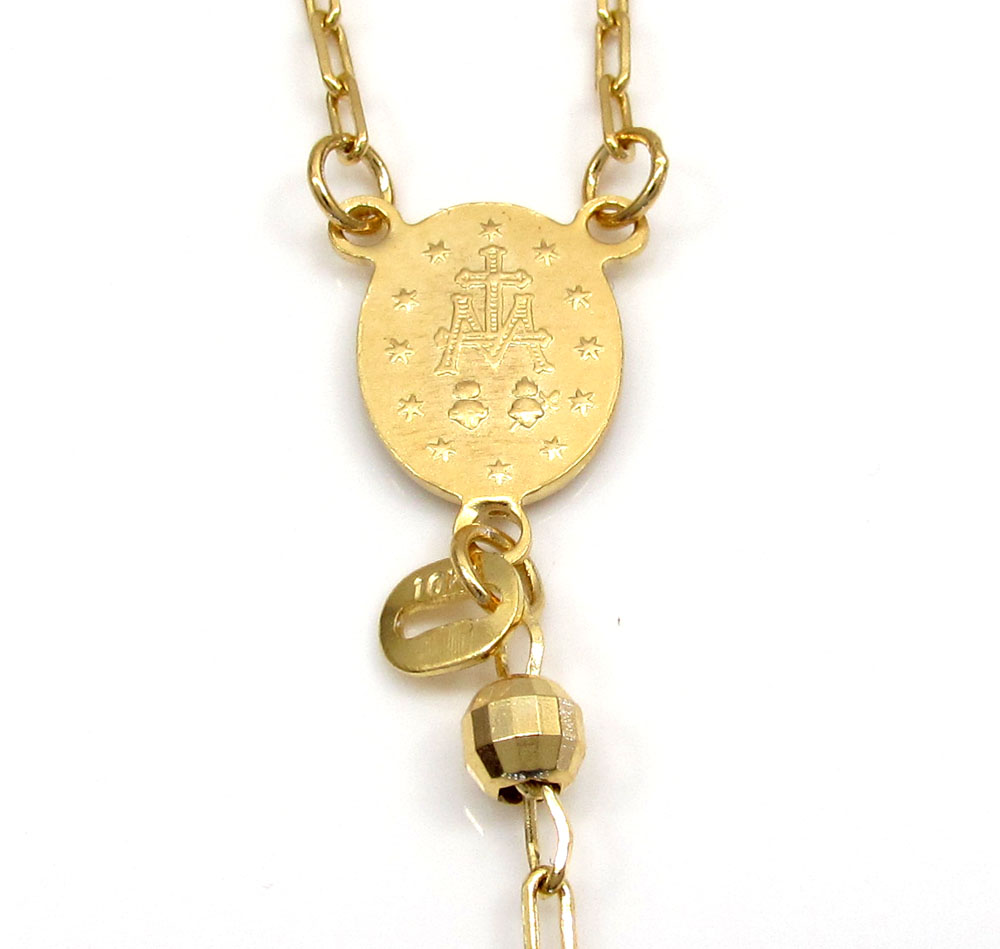 10k yellow gold disco ball small bead rosary chain 26 inch 3.8mm