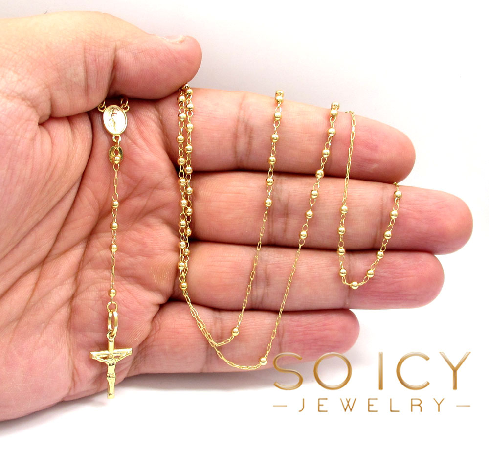 10k yellow gold smooth ball thin bead rosary chain 26 inch 2.5mm