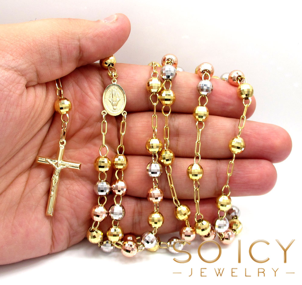 10k yellow gold tri tone disco ball large bead rosary chain 30 inch 7.8mm
