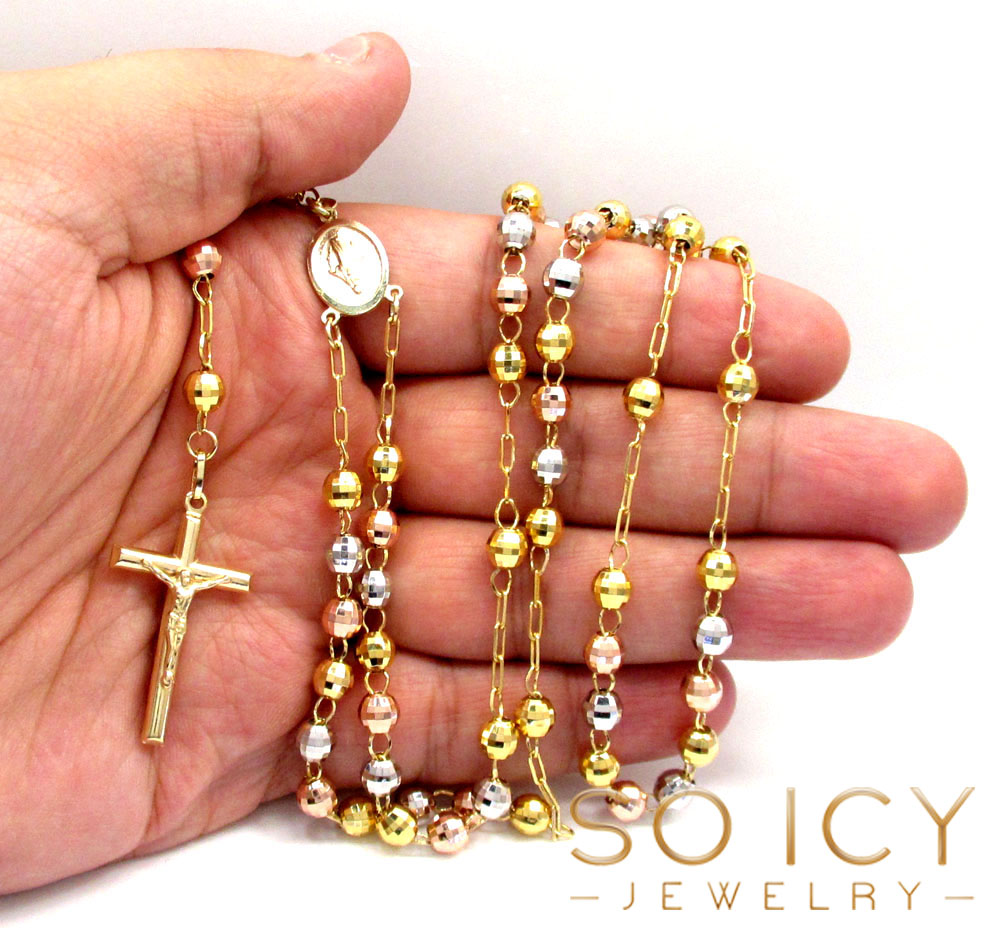 10k yellow gold tri tone disco ball medium bead rosary chain 26 inch 5.8mm