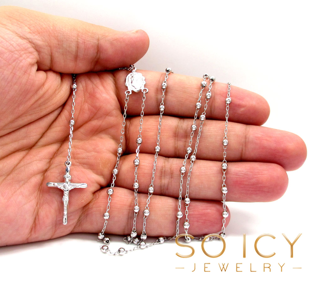 10k white gold smooth bead skinny rosary chain 26 inch 3mm