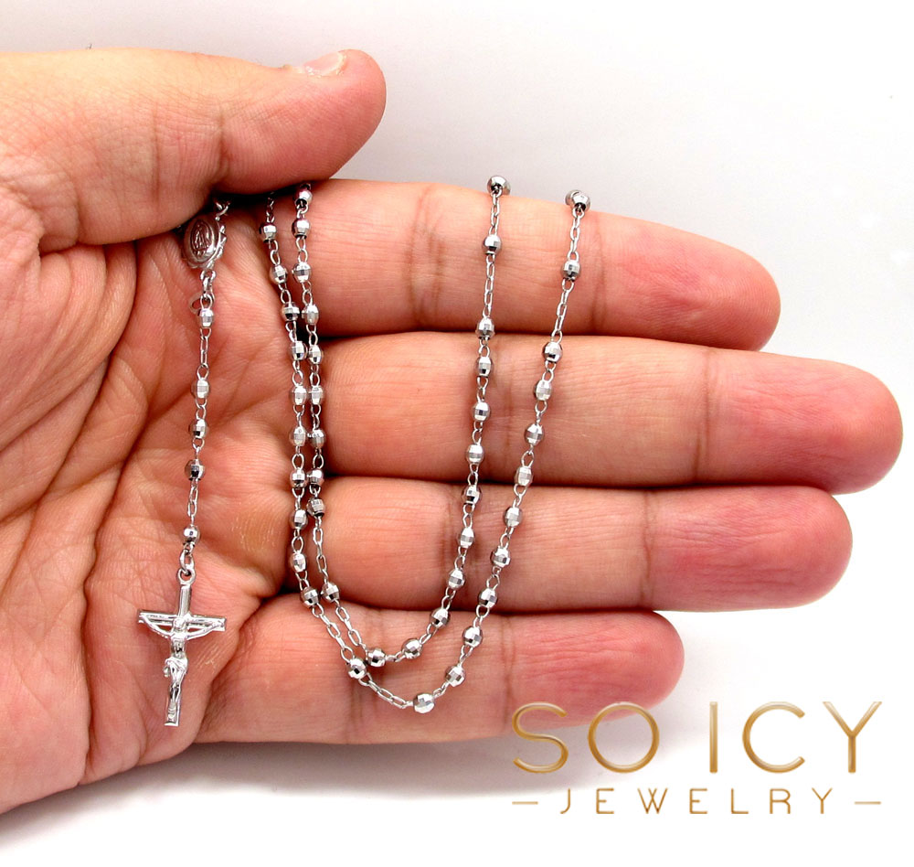 10k white gold disco bead womens rosary chain 16