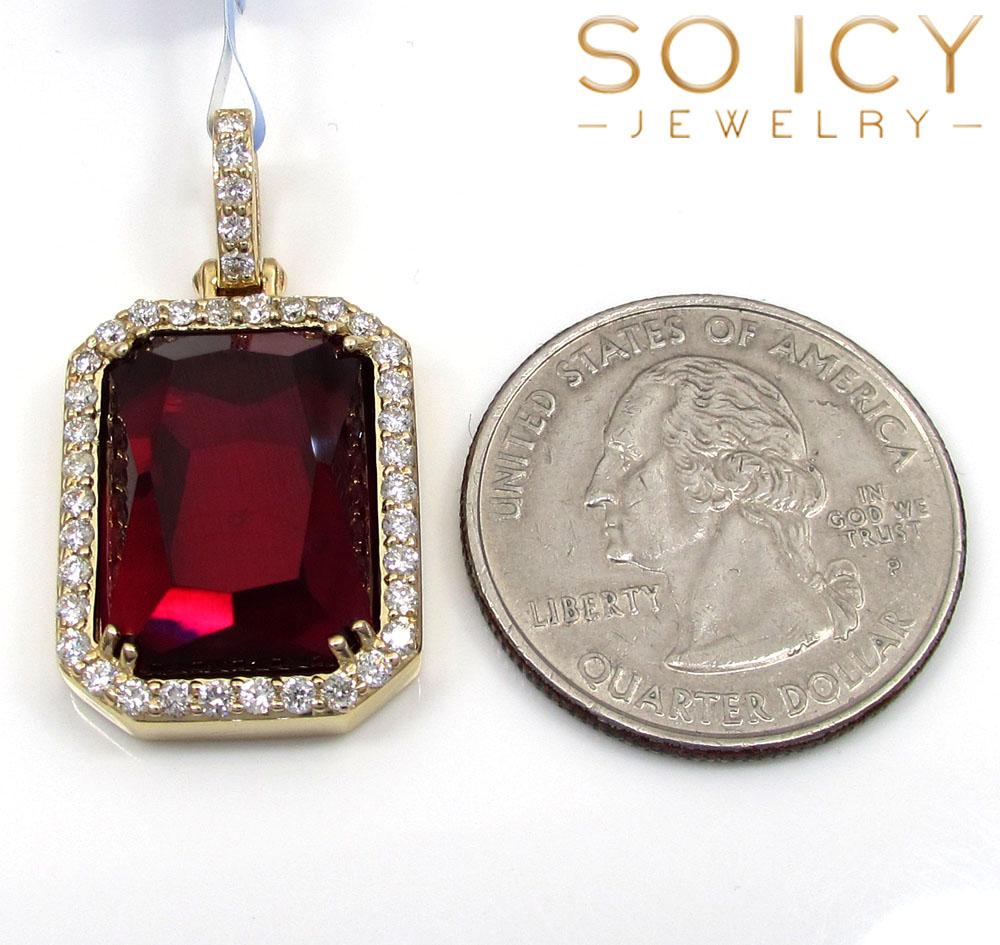 14k yellow gold ruby red vs diamond octagon charm pendant 0.71ct