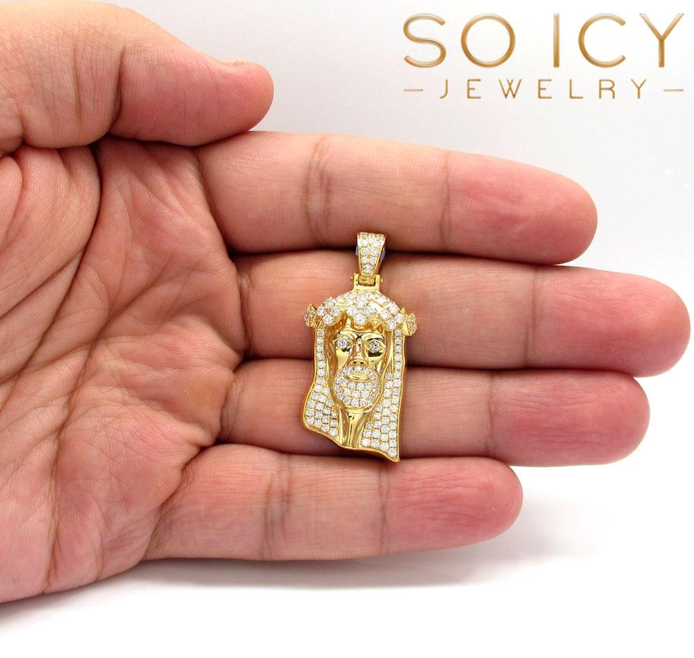 14k yellow gold vs diamond ace crown jesus piece pendant 1.89ct
