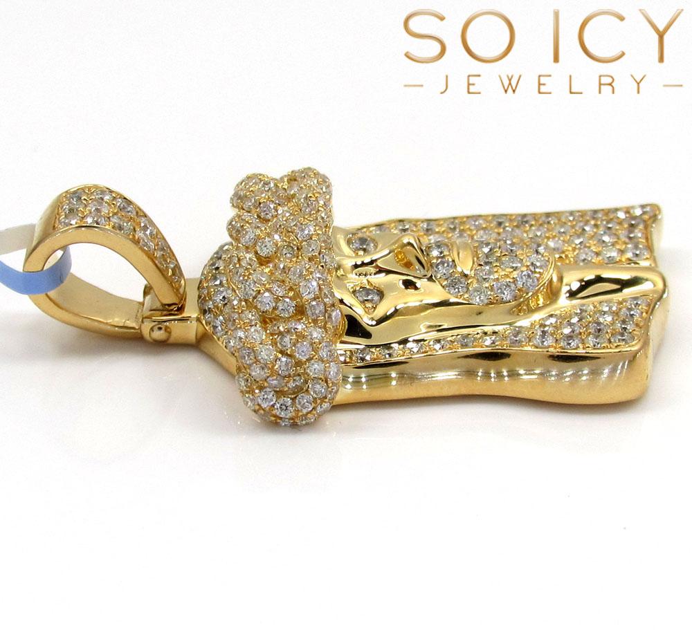14k yellow gold vs diamond miami link crowned jesus piece pendant 2.05ct