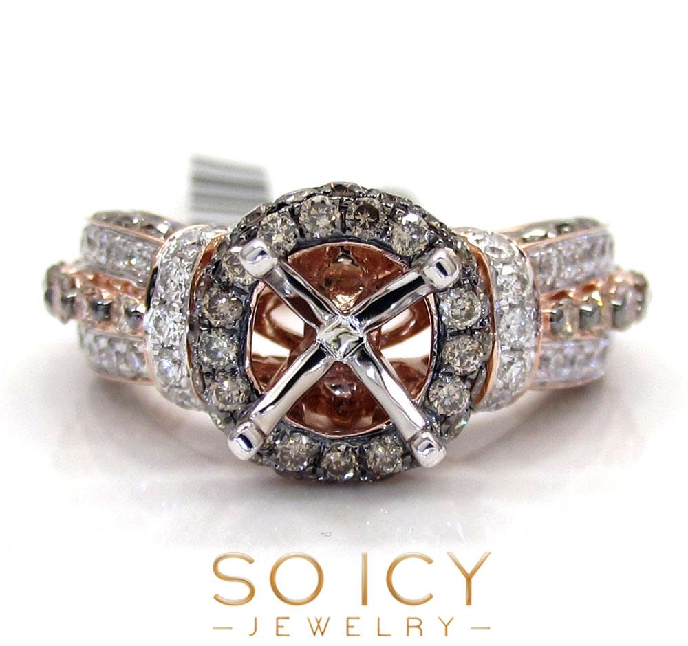 14k rose gold champagne & white diamond semi mount ring 2.26ct