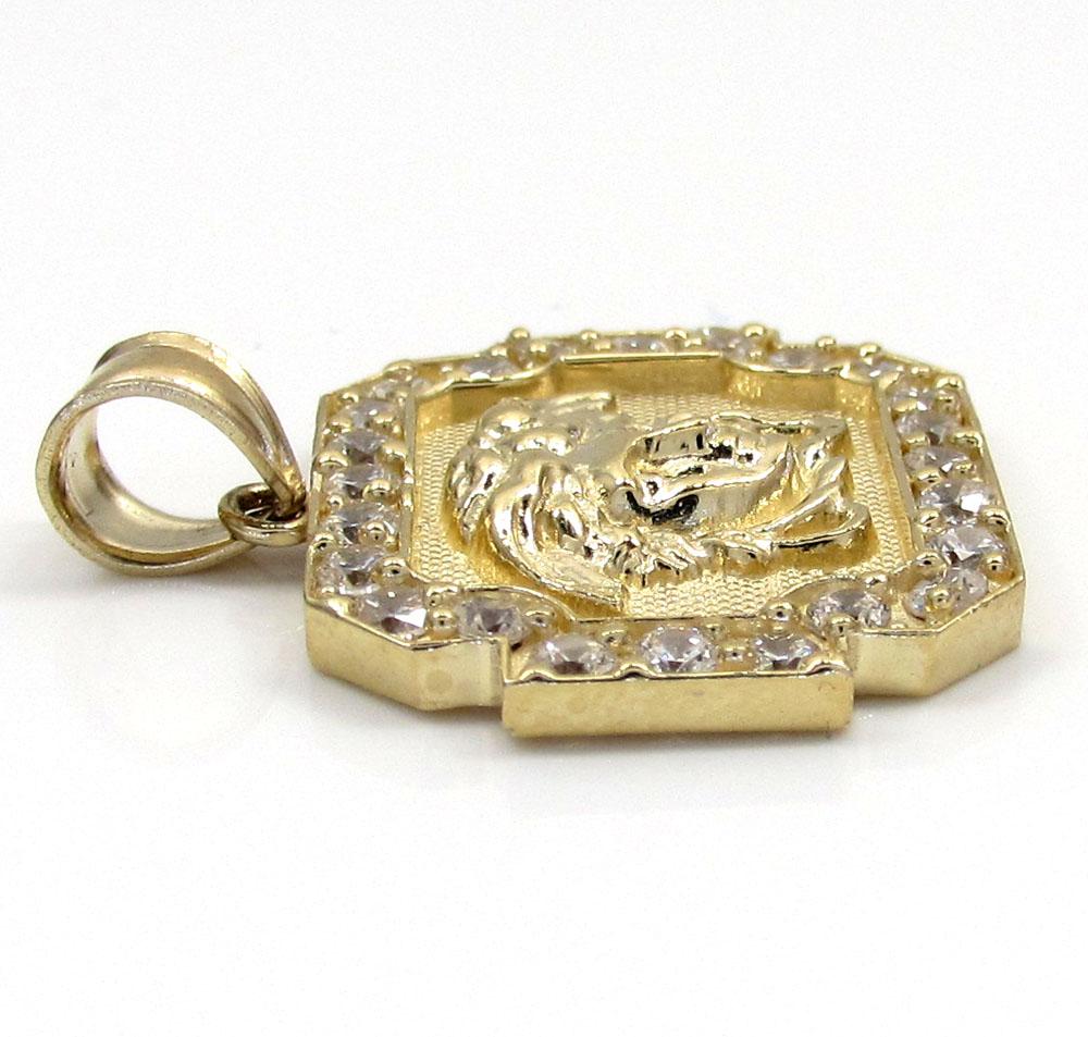 10k yellow gold cz boxed halo medusa head pendant 1.00ct