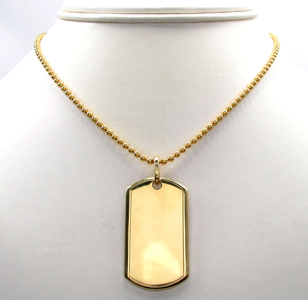 14k yellow gold medium dog tag pendant