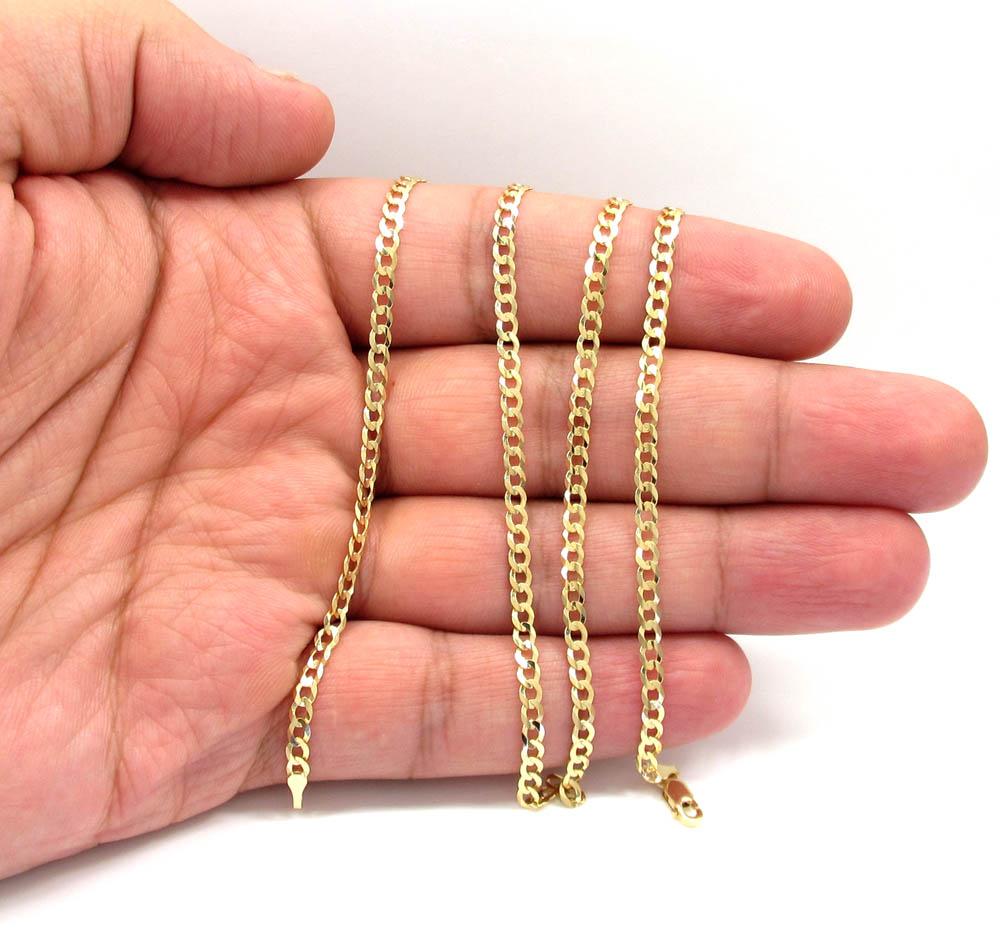 14k yellow gold solid cuban chain 18-24 inch 3mm