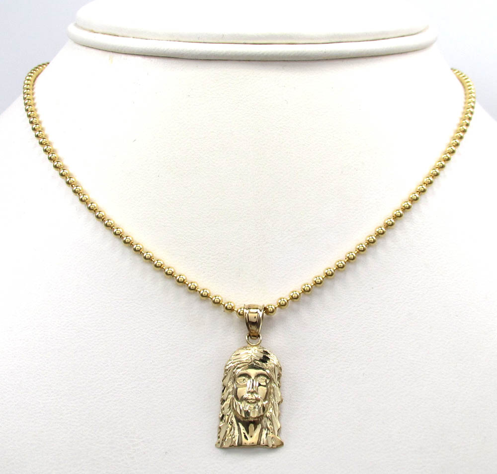 10k yellow gold diamond cut mini jesus face pendant