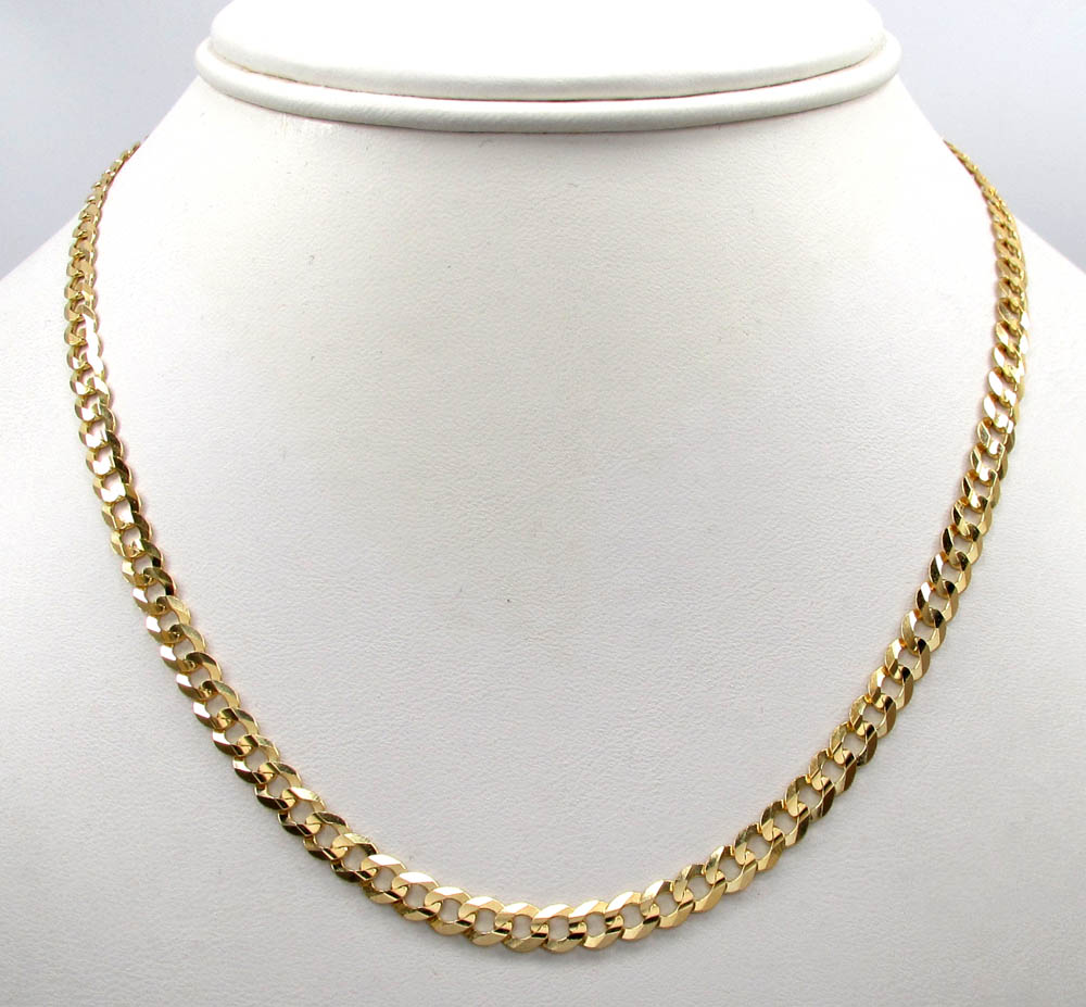 14k yellow gold solid cuban chain 20-24 inch 4.70mm