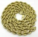 10k yellow gold smooth semi hollow italian rope chain 24-30 inch 6.50mm
