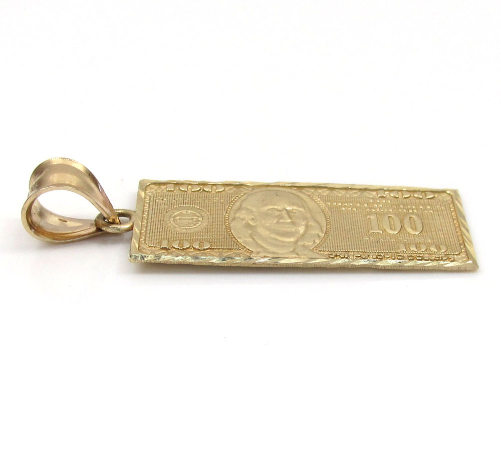 10k yellow gold diamond cut one hundred dollar bill pendant