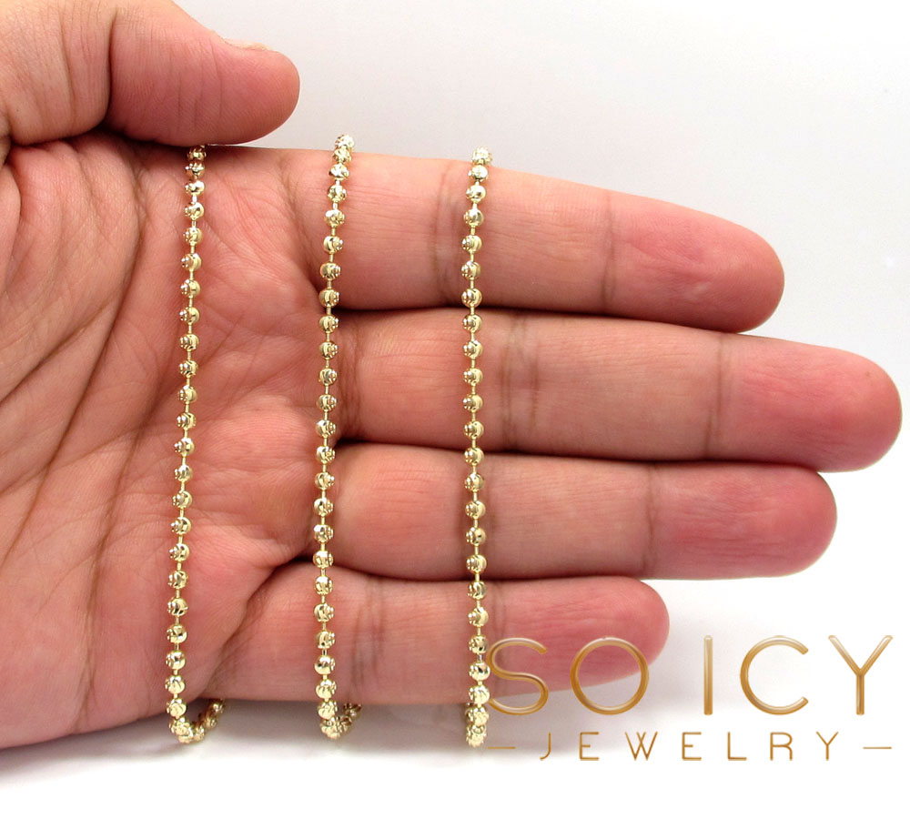 14k yellow gold moon cut bead link chain 18-30 inch 3mm