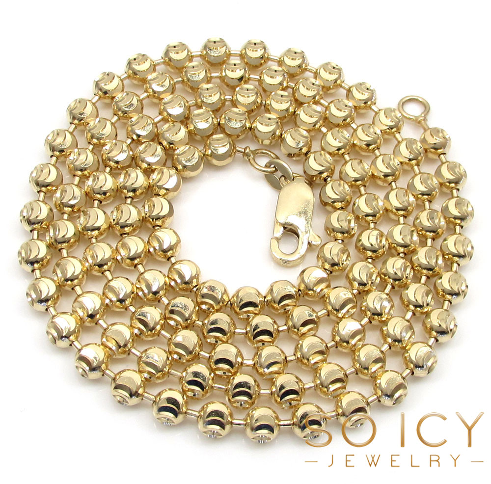 14k solid yellow gold moon cut bead chain 24-30 inch 4mm