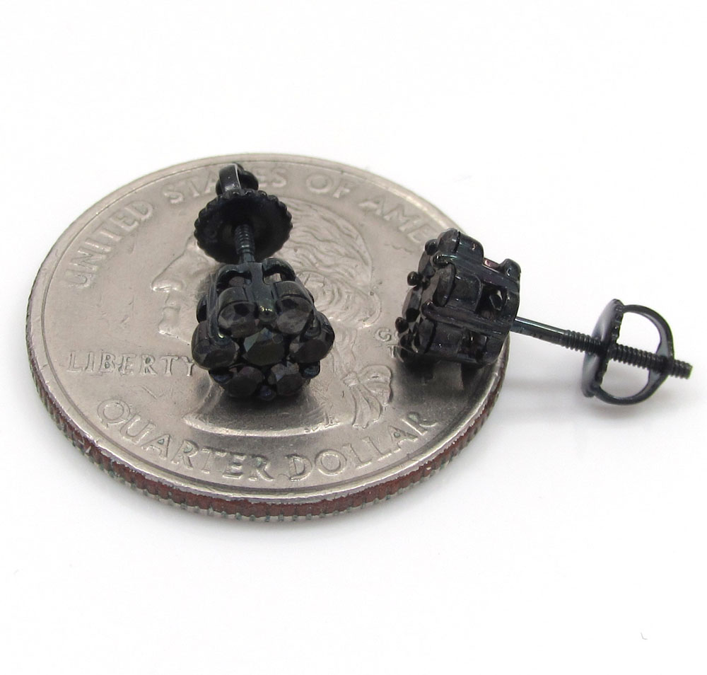 14k black gold black diamond 6mm cluster medium earrings 0.75ct