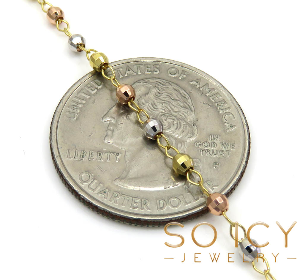10k yellow gold tri tone disco ball skinny bead rosary chain 26 inch 2.4mm