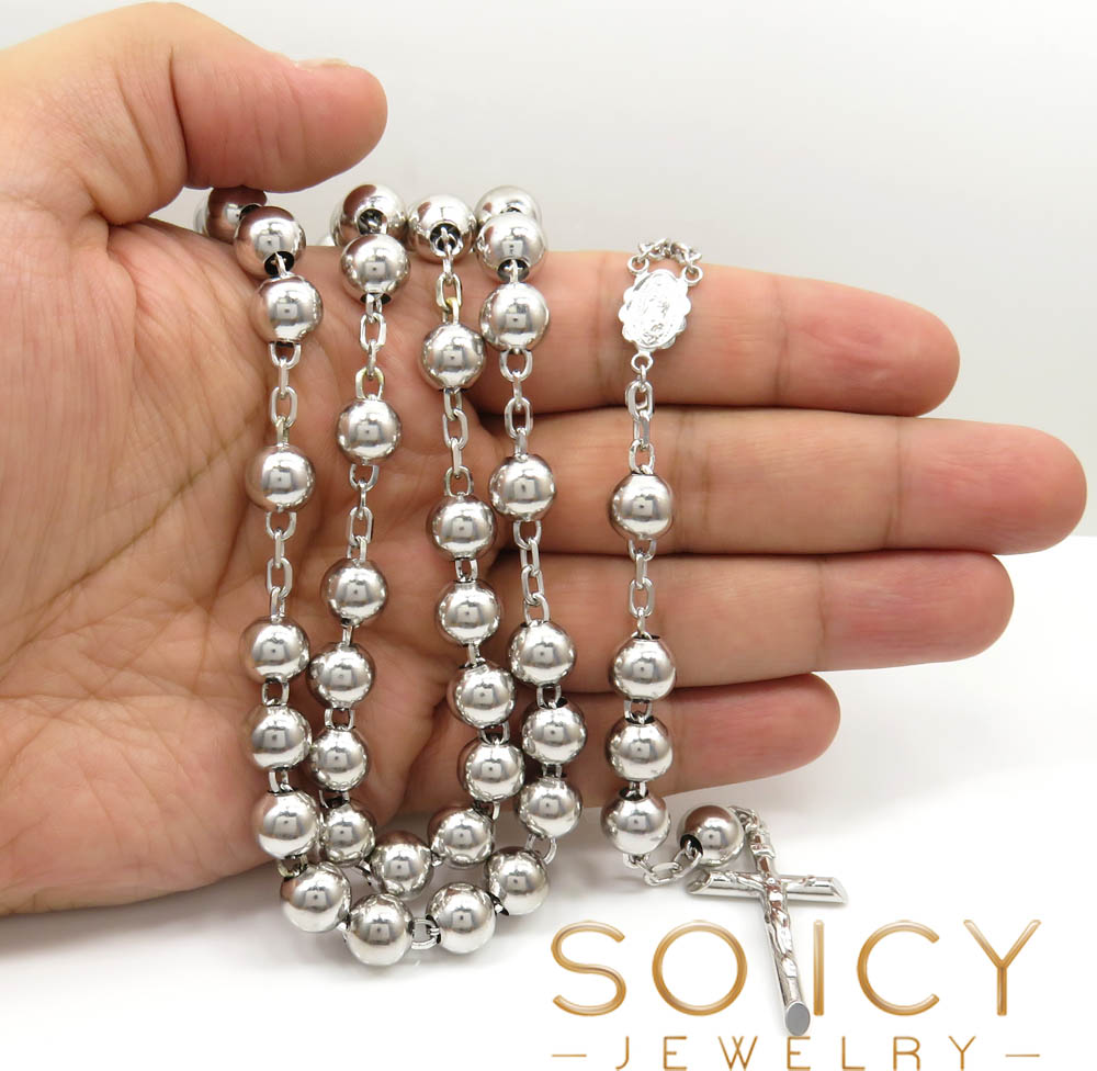 10k white gold rosary large smooth bead chain 36inch 10mm